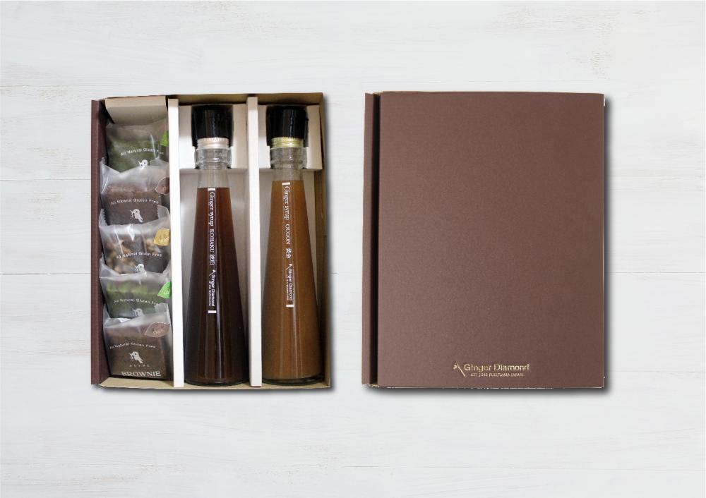 【贈答箱入り】ジンジャーシロップ琥珀&黄金 200ml&ブラウニー