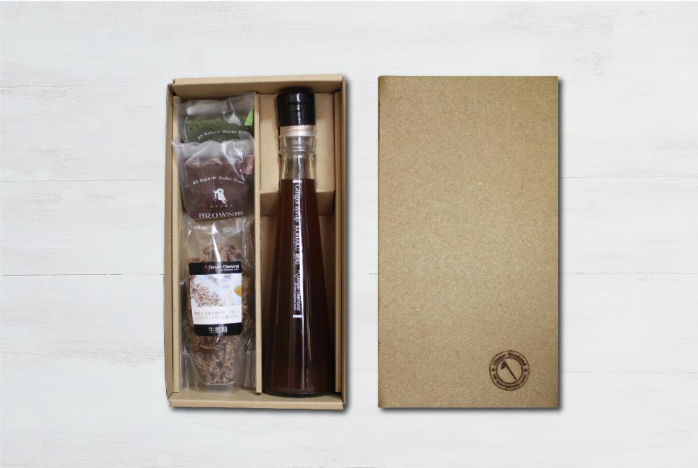 【贈答箱入り】ジンジャーシロップ琥珀 200ml&生姜糖&ブラウニー